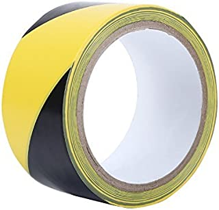 TopSoon Strong Adhesive Black and Yellow Hazard Warning Safety Stripe Tape 2-Inch by 18-Yard Roll Floor Tape Striped Caution Tape
