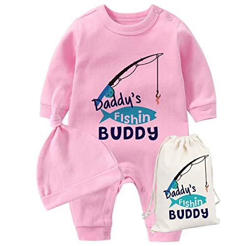 culbutomind YSCULBUTOL Baby Zwillinge Vatertag Kleinkind Mädchen Kleidung Papa Angeln Buddy Baby Strampler Geburtstag Kleid Gr. 68, Pink Dad Fishing