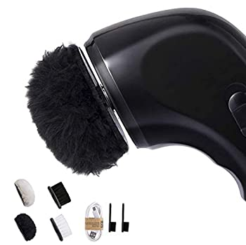 Shoe Buffer Kit Electric Shoe Polisher Brush Shoe Shiner Dust Cleaner Portable Wireless Leather Care Kit for Shoes Bags Sofa  Black