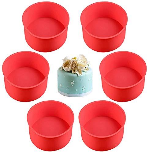Runde Kuchenformen-Set, Silikonformen zum Backen, Antihaftbeschichtung und Schnellentriegelung, für Käsekuchen, Regenbogen-Kuchen und Chiffon-Kuchen, 10,2 cm, Rot, 6 Stück