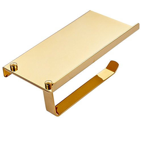 Olusar Toilettenpapierhalter Rollenhalter mit Ablage Edelstahl für Badezimmer Gold