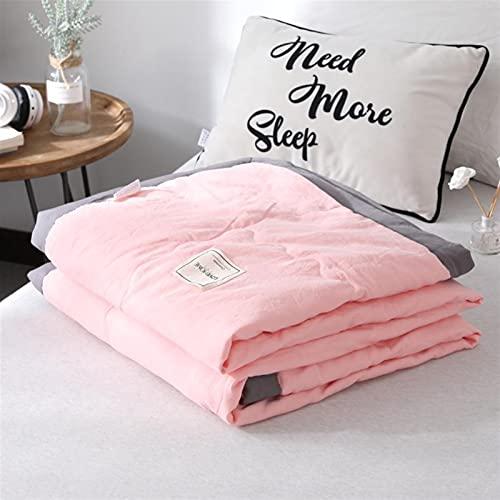 YYGQING Colcha de verano de algodón lavado de color puro, a prueba de polvo, suave, colcha de verano para decoración de estudiantes adultos, colcha fresca de verano (color: rosa, tamaño: 150 x 200 cm)