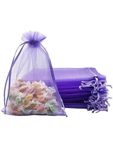 Jexila 100PCS Lavender Organza Bags 5X7 inches with Drawstring Pouches Small Mesh Gift Bags for Jewelry Wedding Birthday Baby Shower Party Favor Bags (Lilac)