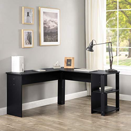 ModernLuxe Computertisch in L-Form,Schreibtisch, Eckschreibtisch mit 2 Ablagen,vergrößerter Desktop 140 x 50 x 75 & 140 x 40 x 75 (Holzfarbe), für Büro/Home Office (Schwarz)