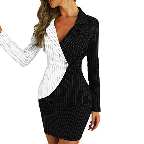 Aniywn Ladies Bodycon Blazer Dress Women Slim Fit Pinstripe Patchwork Bodycon Dress Suit Sets Black