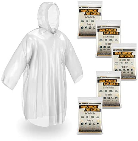 Rainoux 5 Pack Disposable Rain Ponchos for Adults Clear Emergency Raincoat with Drawstring Hood product image