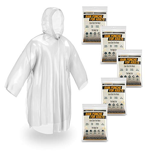 Rainoux 5 Pack Disposable Rain Ponchos for Adults - Clear Emergency Raincoat with Drawstring Hood, Perfect Rain Gear for Camping, Hiking, Concerts and Theme Parks (Clear Adults 5 Pack)