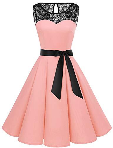 Bbonlinedress Kleider Kleid Damen cocktailkleid Abendkleider lang Rockabilly Kleider Damen Rockabilly Kleid Spitzenkleid Damen Damen Blush S