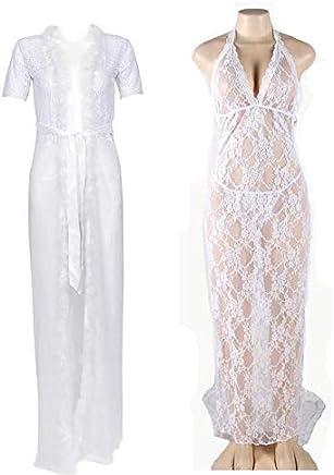 d5077606f75 IngerT 4 Pcs Bridal Nightwear Wedding Night Out Long Robe Dress Set with  Panties for Women