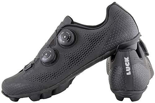 LUCK Excalibur Zapatillas Ciclismo MTB | Color Negro | Suela de Carbono SHD | Doble Cierre Rotativo ATOP | Puntera y Trasera de Refuerzo, Nuevo Diseño (Negro, 44)