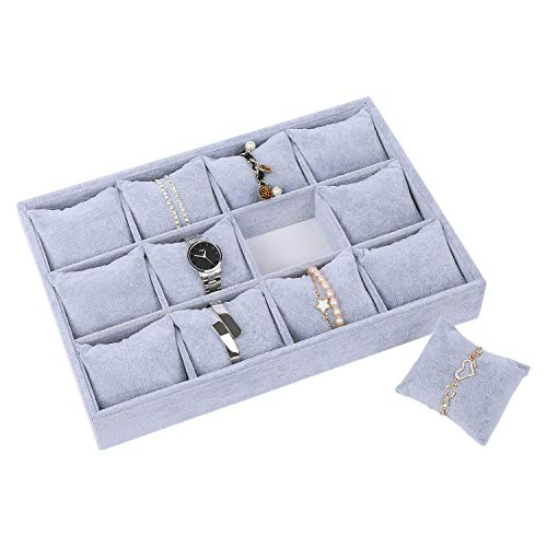 STYLIFING Watch Jewelry Tray Organizer Bracelet Display Showcase 12 Grid Pillows Without Lid Tray Jewelry Storage Holder Grey Velvet Gifts for Men Women Girls