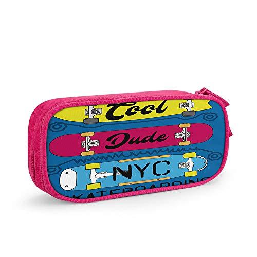 Nicokee Skateboard-Federmäppchen Skateboarding New York Cool Dude Aufbewahrungstasche Beutel Halter Box mit Reißverschluss für Büro Reise Make-up Pink