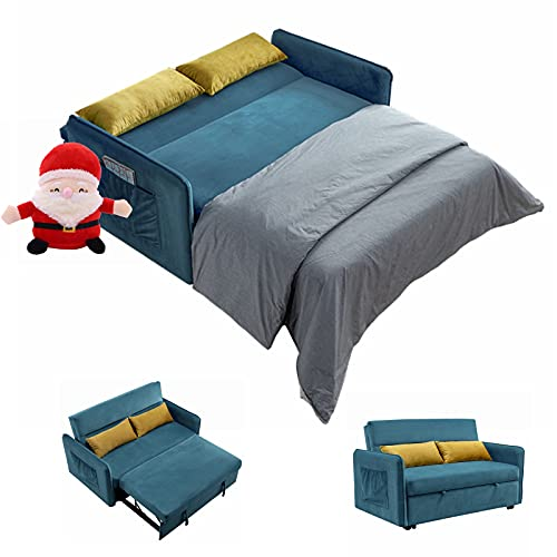 Gynsseh Pull Out Sofa Sleeper, Soft Velvet Pull Out Couch Bed Sleeper Sofa for Living Room or Bedroom, 3 in 1 Loveseat Sleeper with Adjustable Backrest, 2 Lumbar Pillows (Blue, Looking Video)