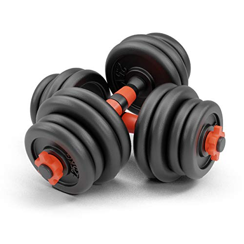 NEOLYMP Premium Kurzhanteln 2er Set Gusseisen 20kg / 30kg – Hantelstangen, Gewichte und Sternverschlüsse gerändelt 25mm schwarz rot (2 x 15KG (30 KG))
