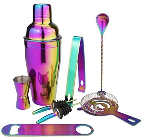 KK Timo Conjunto de fabricación de cócteles, sin óxido o Fugas-Bar Herramientas-Set-Home Bartender-8 Sticks (550 ml) (Arco Iris) (Color : Rainbow)
