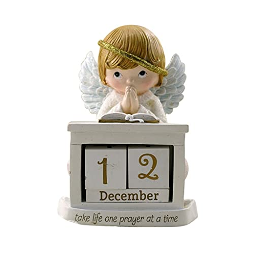 LZL Guardian Angel Resin Desk Blocks Calendario Niño Perpetual Desk Calendar DIY Home Office Decor (Blanco)