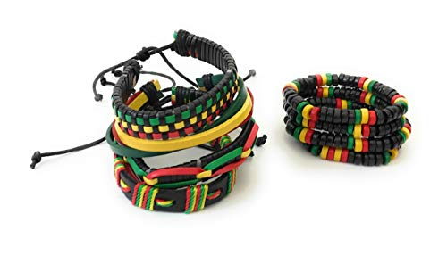 Wigwam 8 Stück Rasta Bob Marley Leder Holz gewebt Armband Band Set Schmuck Festival