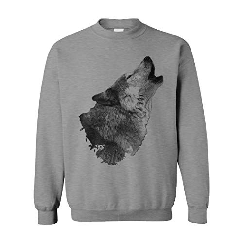 Howling Wolf - Spirit Animal Halloween Unisex Crewneck Sweatshirt (Light Gray, Medium)