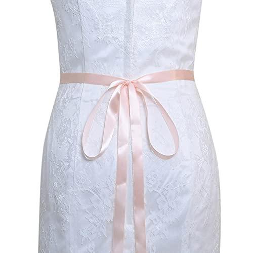 TOPQUEEN S414 Cinturón de novia para boda, faja blanca con diamantes de imitación dorados, cinturones con joyas para mujer, cinturón para vestido de noche de boda, rosa bebé, aplique plateado