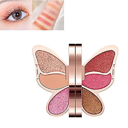 XFSSFWB Paleta de Sombras de Ojos de Mariposa 6 Colores mezclable de Larga duración Impermeable Mate Brillo metálico Sombra de Ojos Conjunto de Paleta de Maquillaje (Color : 02)
