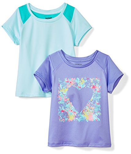 Amazon Brand - Spotted Zebra Kids Girls Active Short-Sleeve T-Shirts, 2-Pack Heart, Small