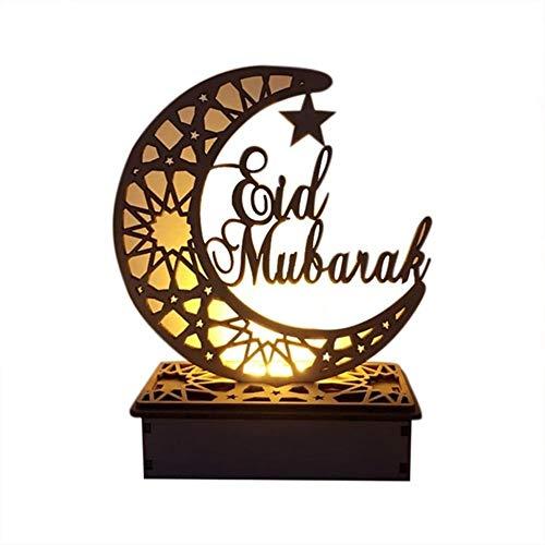 Duoer LED Wooden DIY Lamp Festival Palace Decorative Light for Muslim Islam Eid Mubarak Ramadan Desktop Home Decoration Lights (Emitting Color : B)