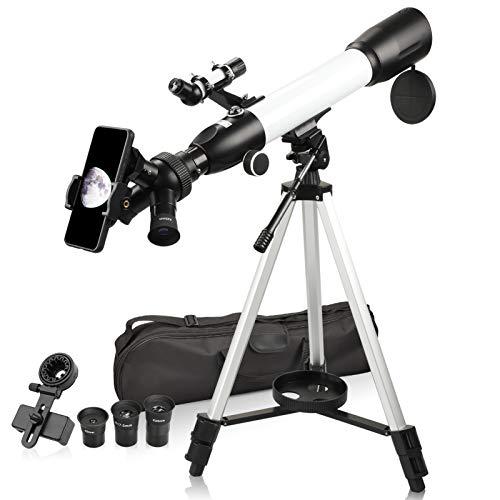 Telescopios Astronomicos para Adultos Principiantes 20x-167x Alta Potencia con 3X Lente Barlow K9 K17.5 K25mm Ocular Soporte para teléfono, Ideal para observar Las Estrellas de la Luna los Animales