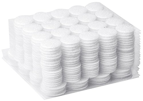 AIEX 500pcs (200 Pair 20mm Diameter Sets and 50 Pair 25mm Diameter Sets) Sticky Back Coins Hook & Loop Self Adhesive Dots Tapes (White)