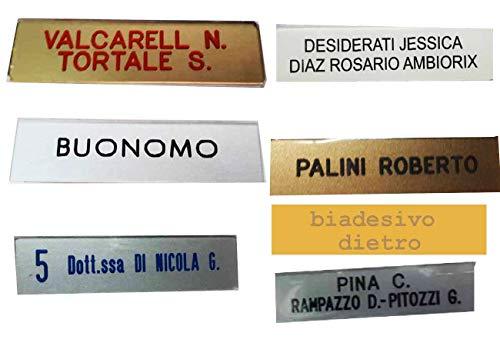 Generico Targa citofono con Biadesivo Dietro 1 2 3 righi, 1,5x5,5 cm Spesso 1mm Circa targhetta plexy Glass Scegli Colori con Incisione stampatello FUORIPORTA Imitazione targhetta Ottone (1 RIGO)