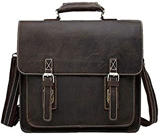 Men's Mad Horse Leather Genuine Leather Male Bag One Shoulder Cross Body Briefcase JAUROUXIYUJINn (Color : Coffee)
