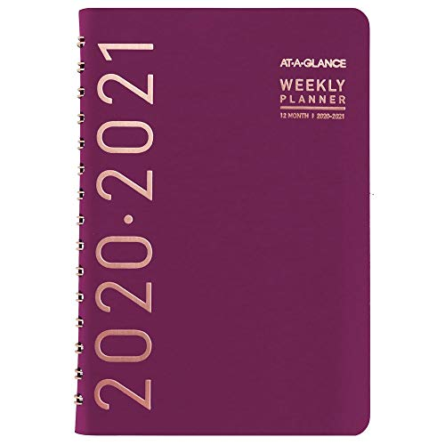 Academic Planner 2020-2021, AT-A-GLANCE Weekly & Monthly Planner, 5u0022 x 8u0022, Small, Contempo, Wine (70101X59)