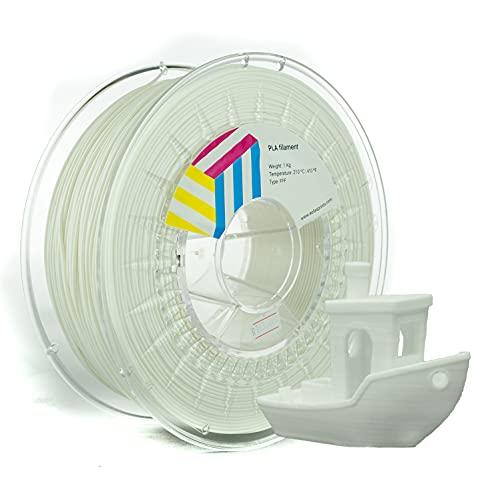 Eolas Prints | Filamento PLA 1.75 | Impresora 3D | Fabricado en España | Apto para uso alimentario y crear juguetes y envases | 1,75mm | 1Kg | Blanco