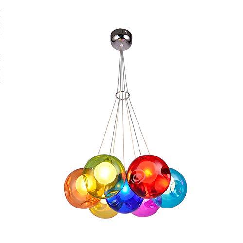 PendelLeuchter Glaskugel,Modern Bunter Glas LED 3W G4 Flammig,7Kopf