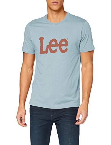 Lee WOOBLY Logo tee Camiseta, Faded Blue_01, S para Hombre