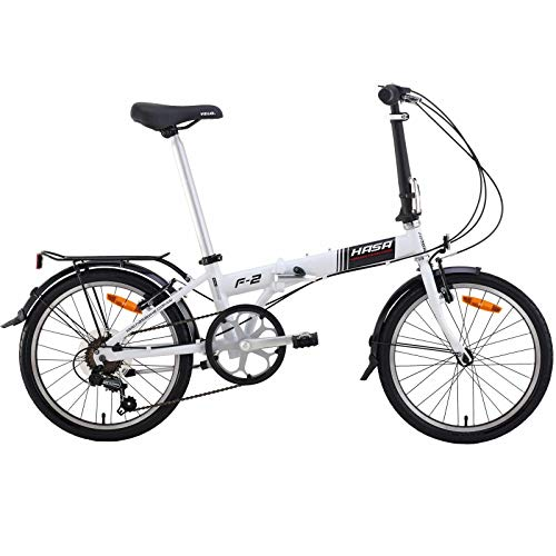 HASA Folding Foldable Bike Compatible with Shimano 6 Speed White