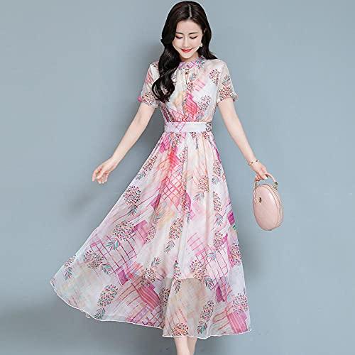 Vestido de Manga Corta con Estampado de Moda de Gran tamaño para Mujer de Verano Temperamento Gran Swing Medio Falda Larga Mujer-Pink_3XL