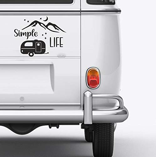 Adesivo decorativo in vinile Simple Life S 25 cm per camper e montagna, per esterni e furgoni