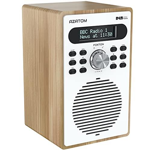 Azatom Foxton DAB DAB+ Digital FM Radio Alarm Clock Wood Effect Headphone socket Mains powered (Oak)
