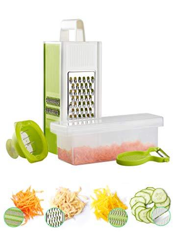 Golden Castle Vierkantreibe mit Behälter | Gemüsereibe inkl. Sparschäler und Fingerschutz | Gemüsehobel Küchenhobel Küchenreibe mit Vier Schneidvarianten aus Edelstahl | Käsereibe
