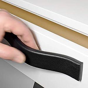 FIRENZE-PURE Ledergriffe in 34 Farben 126, 158, 190, 225mm, Möbelgriffe aus Leder, Schrankgriffe, Küchengriffe…