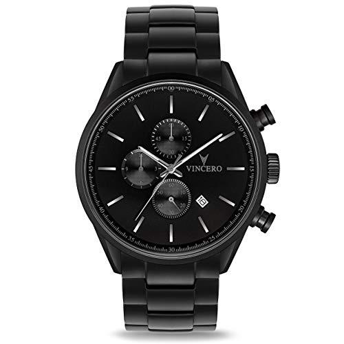 Vincero Luxury Chrono S Herren Armbanduhr - 43mm Chronograph Uhr Stahlband - Japanisches Quarz Uhrwerk (Mattschwarz Stahl)