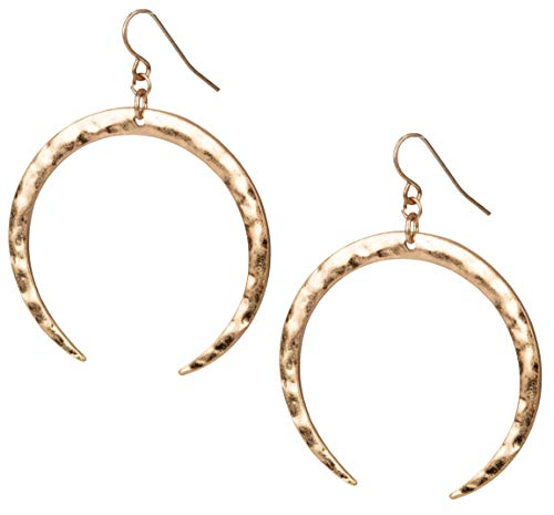 Hoop Hammered Tusk Earring in Gold or Silver for Women
