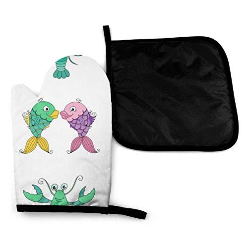 iuitt7rtree Funny Fish and Cancer - Juego de guantes de horno y soporte para ollas de algodón resistente al calor, antideslizante, guantes de microondas para hornear y cocina