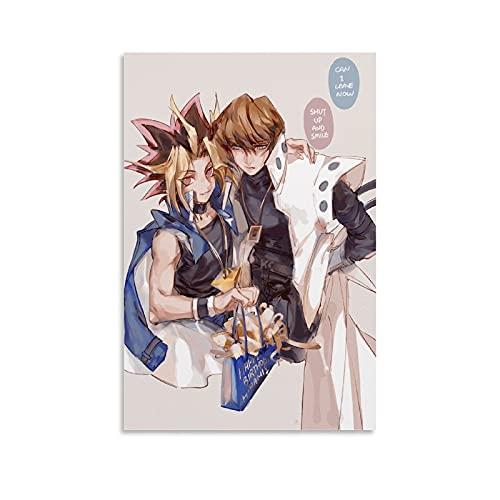 BHSOU Anime Duel Monsters ATEM And Seto Kaiba Poster Leinwand Schlafzimmer Dekor Sport Landschaft Büro Zimmer Dekor Geschenk 50 × 75 cm ohne Rahmen