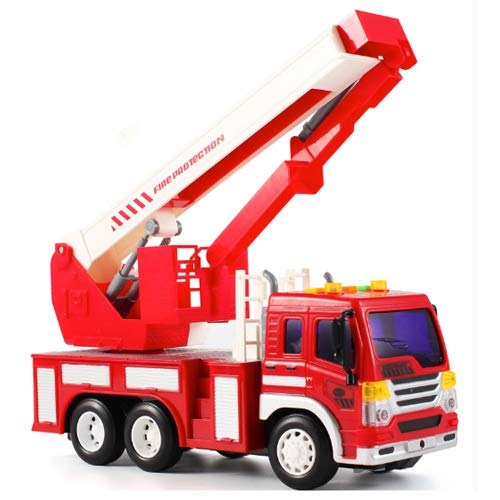 Lihgfw Geburtstags-Geschenk-Feuer-Rettungs-Fahrzeug-Fernsteuerungsauto Feuerwehrleiter Kran Haken Auto-Technik-LKW Elektrische Kinderspielzeugauto Junge Auto (Color : Rescue car)