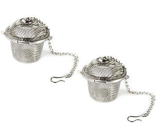COM-FOUR® 2x theezeef van roestvrij staal - thee-ei voor losse thee en kruiden - fijnmazig theefilter (02 stuks - Ø 4,5 cm)
