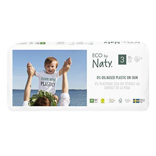 Eco by Naty, Taille 3, 100 couches, 4-9kg, Couche écologique fabriquée à partir de fibres végétales, 0% de plastique (issu du pétrole) au contact de la peau de bébé.