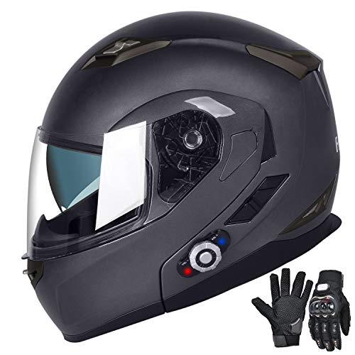 FreedConn Motorcycle Bluetooth Helmet,Bluetooth Integrated Modular Flip up Full Face Motorcycle Helmet,Dual Visor Modular Bluetooth Helmet,Mp3 FM Intercom DOT Approved Helmets (XL,Gray)