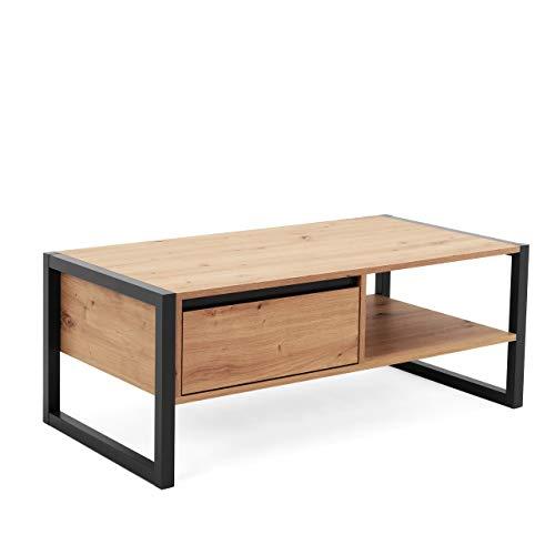 Newfurn Couchtisch Anthrazit Wildeiche Wohnzimmertisch Vintage Industrial - 100x40x55 cm (BxHxT) - Landhausstil Sofatisch Tisch - [Vincent.six] Wohnzimmer