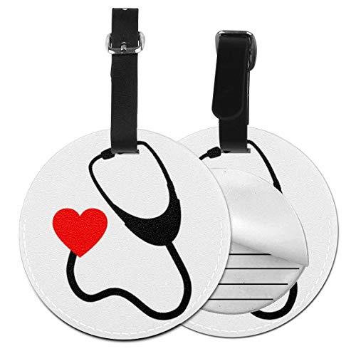 Kofferanhänger PU Leder Krankenschwester Stethoskop Herz Rn Doktor, Gepäckanhänger ID Etikett Mit Adressschild Namenschild für Reisetasche Koffer
